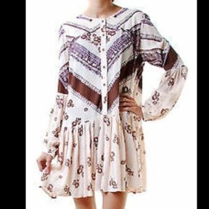 Free people boho floral button down dress